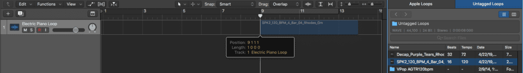 Logic Pro X Apple Untagged Loops tutorial files positioning wave
