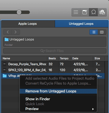 Logic Pro X Apple Untagged Loops tutorial remove from box