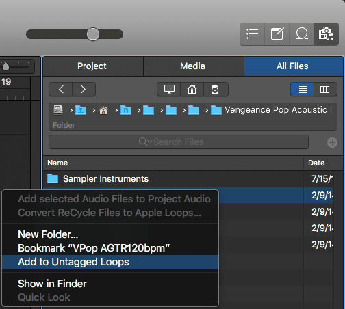 Logic Pro X Apple Untagged Loops tutorial All files add window