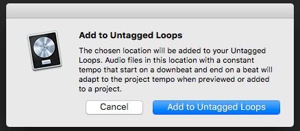 Logic Pro X Apple Untagged Loops tutorial Add to loops window